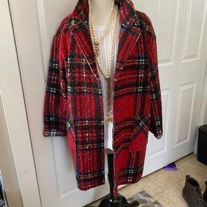 New Charlie long Boucle Boutique Plaid jacket